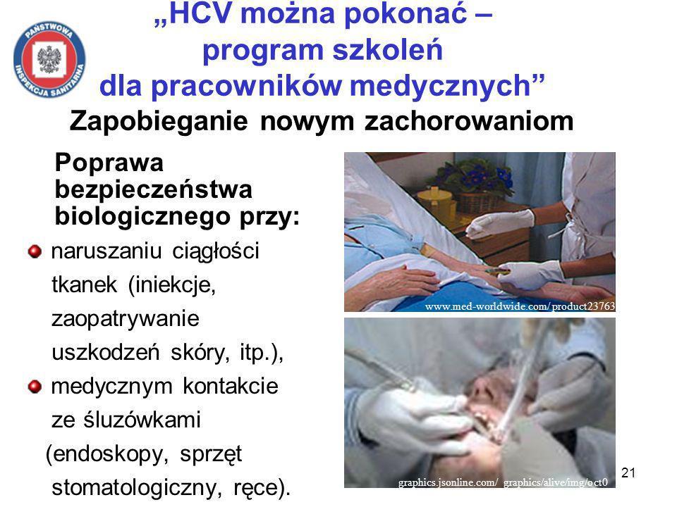 21 HCV można pokonać – program szkoleń dla pracowników medycznych Zapobieganie nowym zachorowaniom Poprawa bezpieczeństwa biologicznego przy: naruszaniu ciągłości tkanek (iniekcje, zaopatrywanie uszkodzeń skóry, itp.), medycznym kontakcie ze śluzówkami (endoskopy, sprzęt stomatologiczny, ręce).