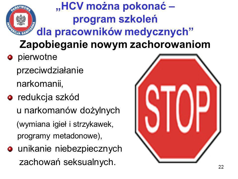 22 HCV można pokonać – program szkoleń dla pracowników medycznych Zapobieganie nowym zachorowaniom pierwotne przeciwdziałanie narkomanii, redukcja szkód u narkomanów dożylnych (wymiana igieł i strzykawek, programy metadonowe), unikanie niebezpiecznych zachowań seksualnych.