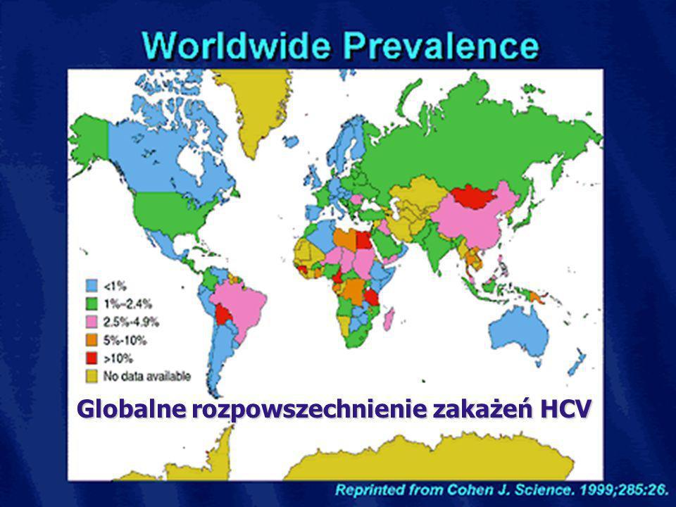 3 HCV można pokonać – program szkoleń dla pracowników medycznych Globalne rozpowszechnienie zakażeń HCV Globalne rozpowszechnienie zakażeń HCV