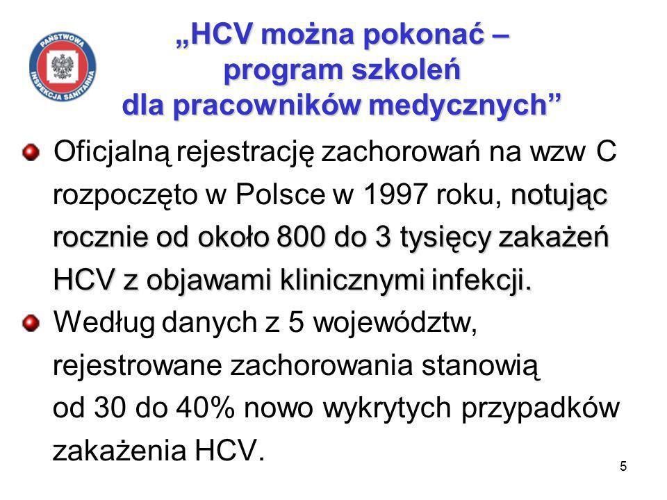 5 HCV można pokonać – program szkoleń dla pracowników medycznych Oficjalną rejestrację zachorowań na wzw C notując rozpoczęto w Polsce w 1997 roku, notując rocznie od około 800 do 3 tysięcy zakażeń rocznie od około 800 do 3 tysięcy zakażeń HCV z objawami klinicznymi infekcji.