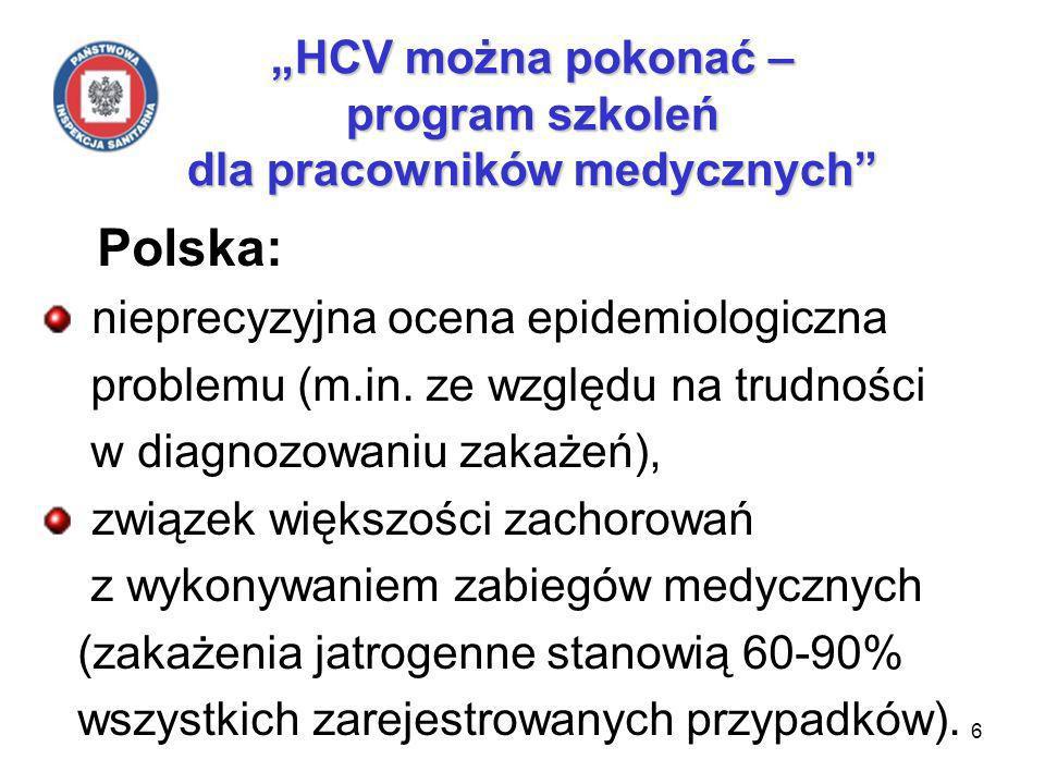 6 HCV można pokonać – program szkoleń dla pracowników medycznych Polska: nieprecyzyjna ocena epidemiologiczna problemu (m.in.