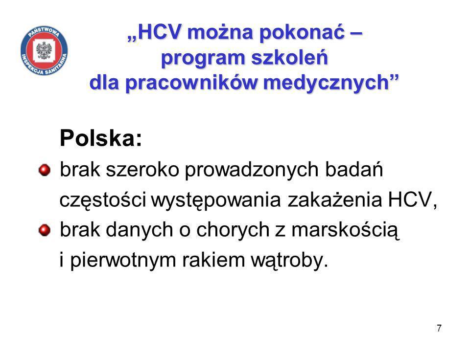 7 HCV można pokonać – program szkoleń dla pracowników medycznych Polska: brak szeroko prowadzonych badań częstości występowania zakażenia HCV, brak danych o chorych z marskością i pierwotnym rakiem wątroby.