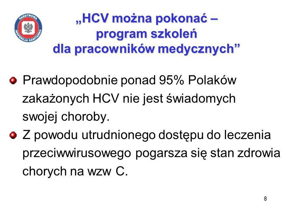 8 HCV można pokonać – program szkoleń dla pracowników medycznych Prawdopodobnie ponad 95% Polaków zakażonych HCV nie jest świadomych swojej choroby.