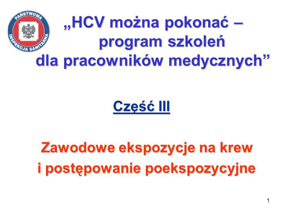 1 HCV można pokonać – program szkoleń dla pracowników medycznych Część III Część III Zawodowe ekspozycje na krew Zawodowe ekspozycje na krew i postępo