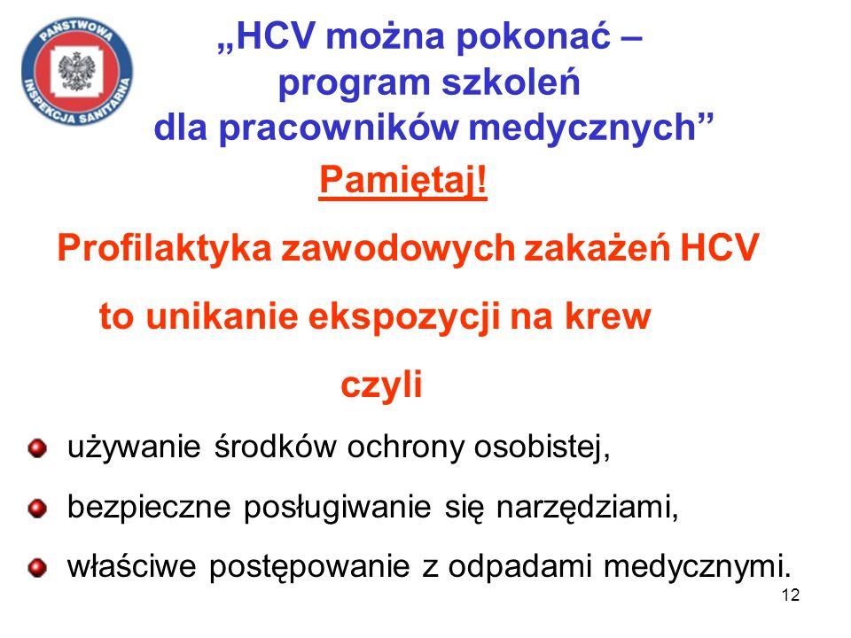 12 HCV można pokonać – program szkoleń dla pracowników medycznych Pamiętaj! Profilaktyka zawodowych zakażeń HCV to unikanie ekspozycji na krew czyli u