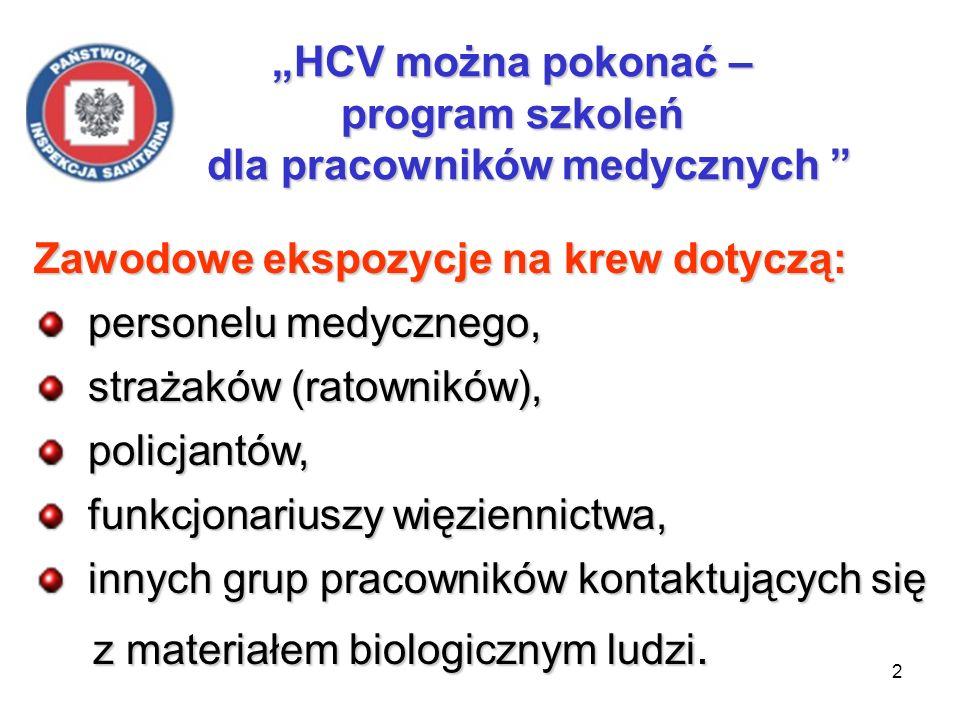 3 HCV można pokonać – program szkoleń dla pracowników medycznych Przezskórne ekspozycje na krew (zakłucia, skaleczenia) zdarzają się u większości pracowników medycznych przynajmniej raz w roku.