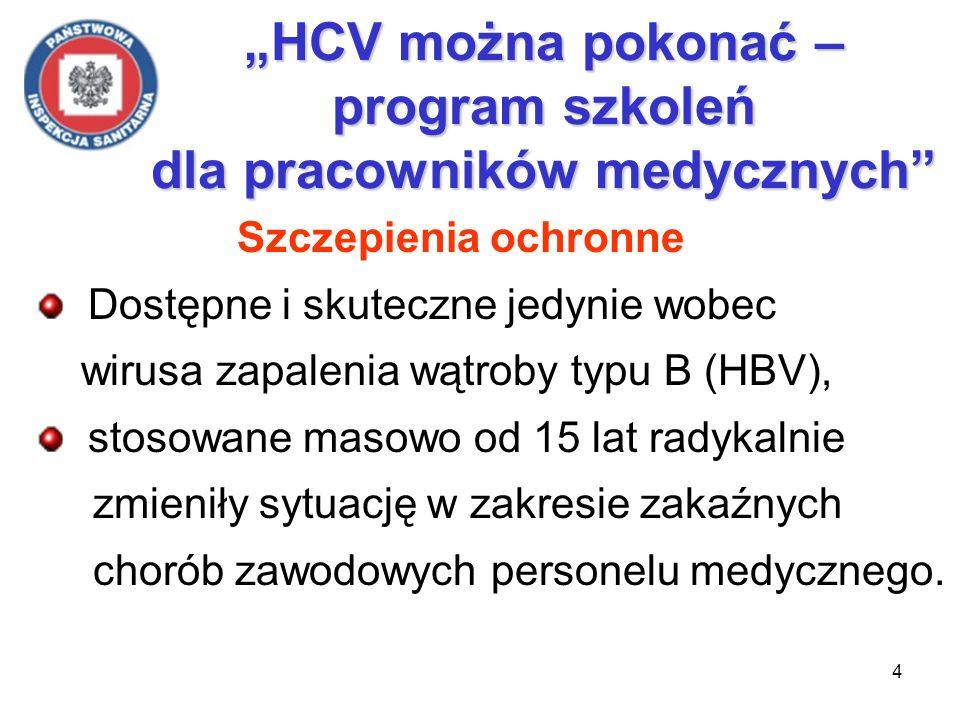 5 HCV można pokonać – program szkoleń dla pracowników medycznych Ze względu na: narastającą liczbę pacjentów zakażonych HCV, stale obecne zawodowe ekspozycje na krew, brak środków zapobiegających zakażeniom HCV, dominującym problemem zdrowotnym personelu medycznego w zakresie chorób zakaźnych stało się wzw C.