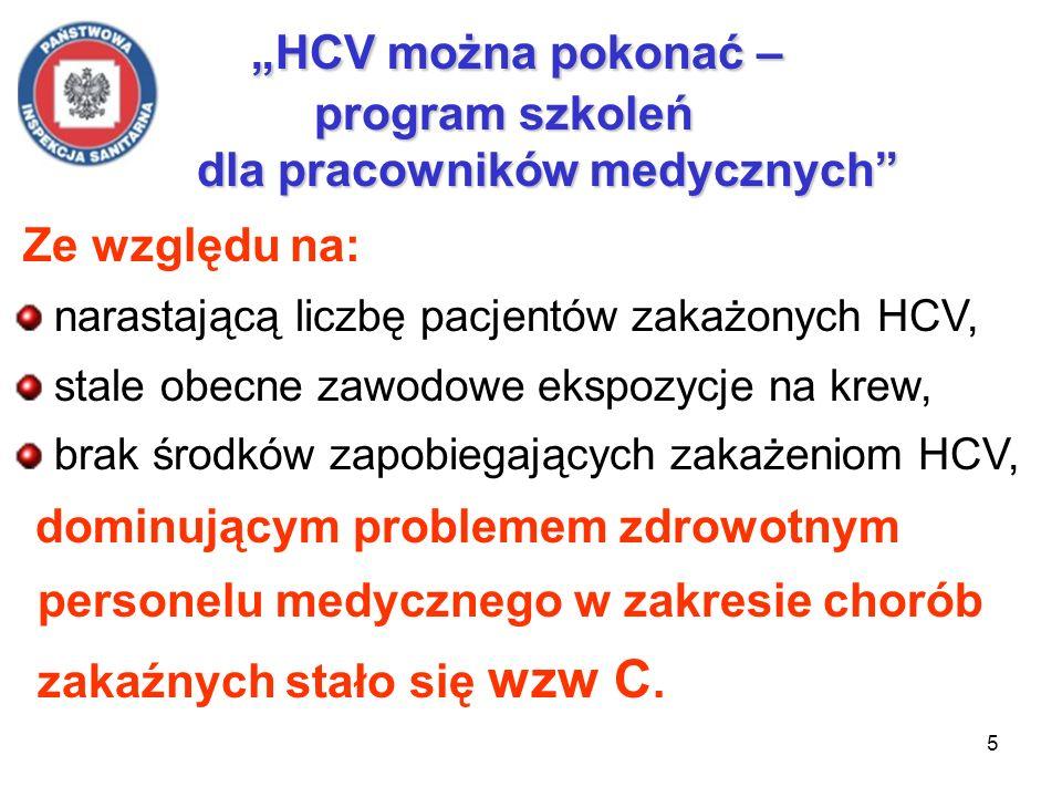 6 HCV można pokonać – program szkoleń dla pracowników medycznych Częstość transmisji HCV po zawodowym zakłuciu igłą określono w szeregu prospektywnych badań obserwacyjnych - wynosi ok.