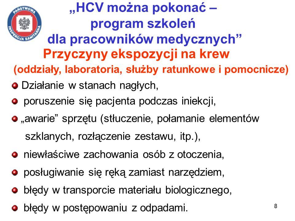 8 HCV można pokonać – program szkoleń dla pracowników medycznych Przyczyny ekspozycji na krew (oddziały, laboratoria, służby ratunkowe i pomocnicze) D