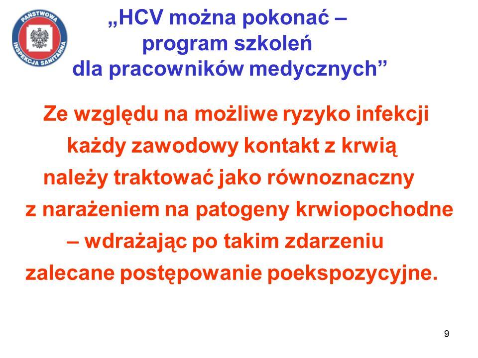 9 HCV można pokonać – program szkoleń dla pracowników medycznych Ze względu na możliwe ryzyko infekcji każdy zawodowy kontakt z krwią należy traktować