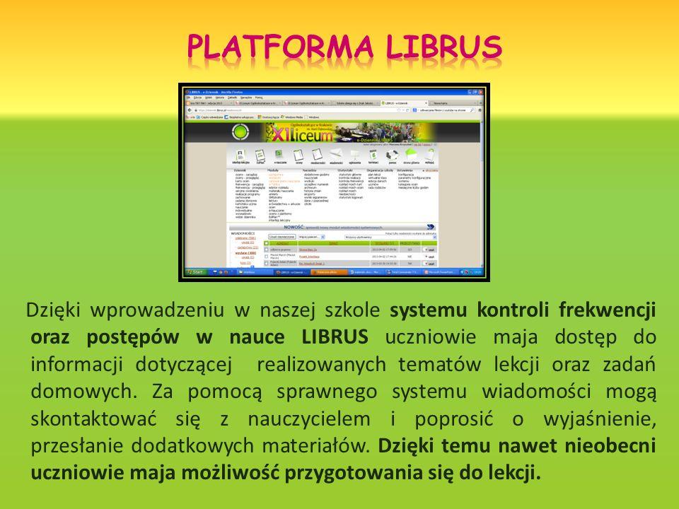 Dzięki wprowadzeniu w naszej szkole systemu kontroli frekwencji oraz postępów w nauce LIBRUS uczniowie maja dostęp do informacji dotyczącej realizowanych tematów lekcji oraz zadań domowych.