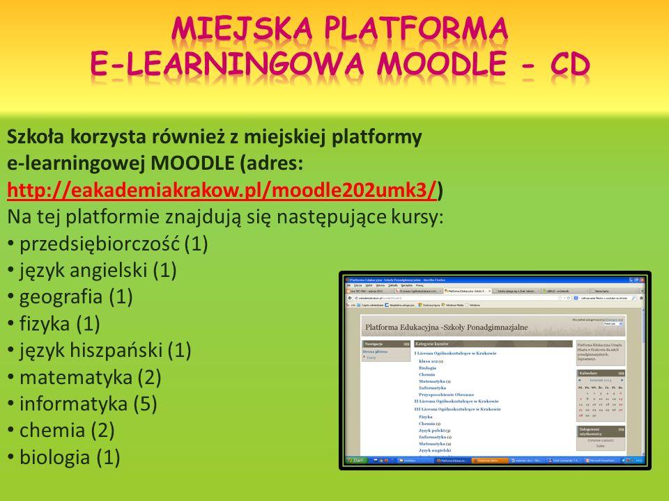 Szkoła korzysta również z miejskiej platformy e-learningowej MOODLE (adres: http://eakademiakrakow.pl/moodle202umk3/) Na tej platformie znajdują się następujące kursy: http://eakademiakrakow.pl/moodle202umk3/ przedsiębiorczość (1) język angielski (1) geografia (1) fizyka (1) język hiszpański (1) matematyka (2) informatyka (5) chemia (2) biologia (1)