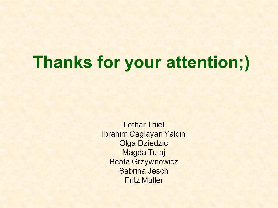 Thanks for your attention;) Lothar Thiel Ibrahim Caglayan Yalcin Olga Dziedzic Magda Tutaj Beata Grzywnowicz Sabrina Jesch Fritz Müller