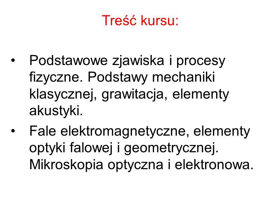 Treść kursu: Podstawowe zjawiska i procesy fizyczne.
