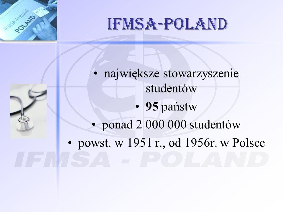 IFMSA-Poland największe stowarzyszenie studentów 95 państw ponad 2 000 000 studentów powst. w 1951 r., od 1956r. w Polsce