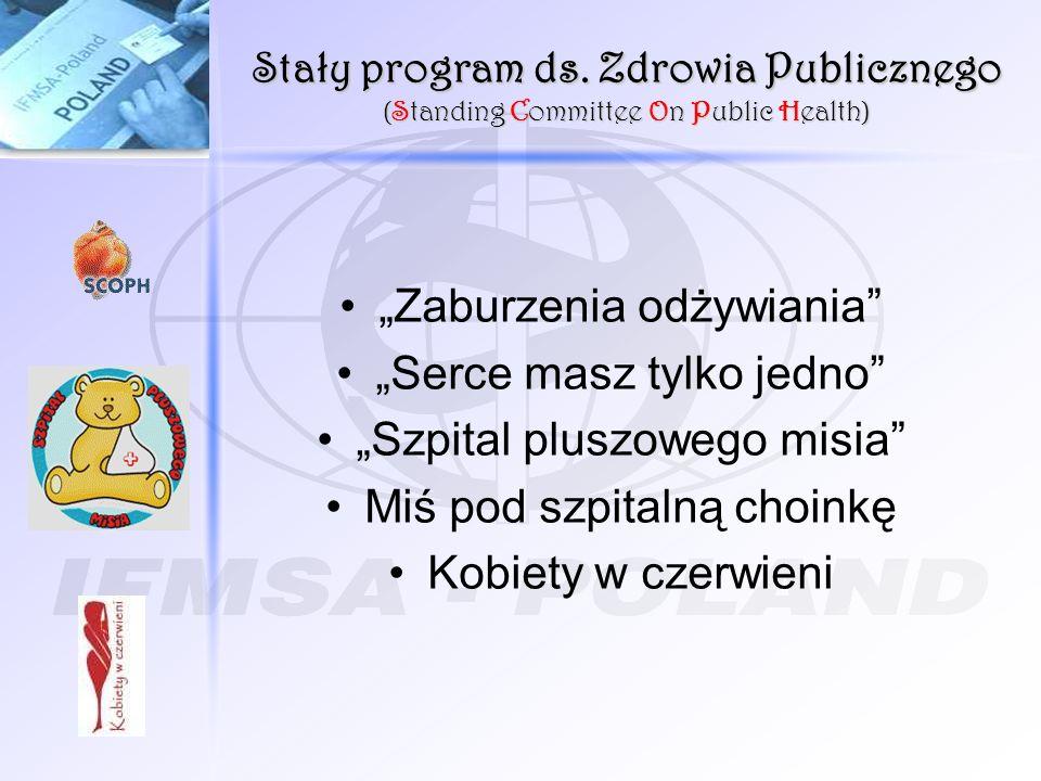 Stały program ds. Zdrowia Publicznego (Standing Committee On Public Health) Zaburzenia odżywiania Serce masz tylko jedno Szpital pluszowego misia Miś