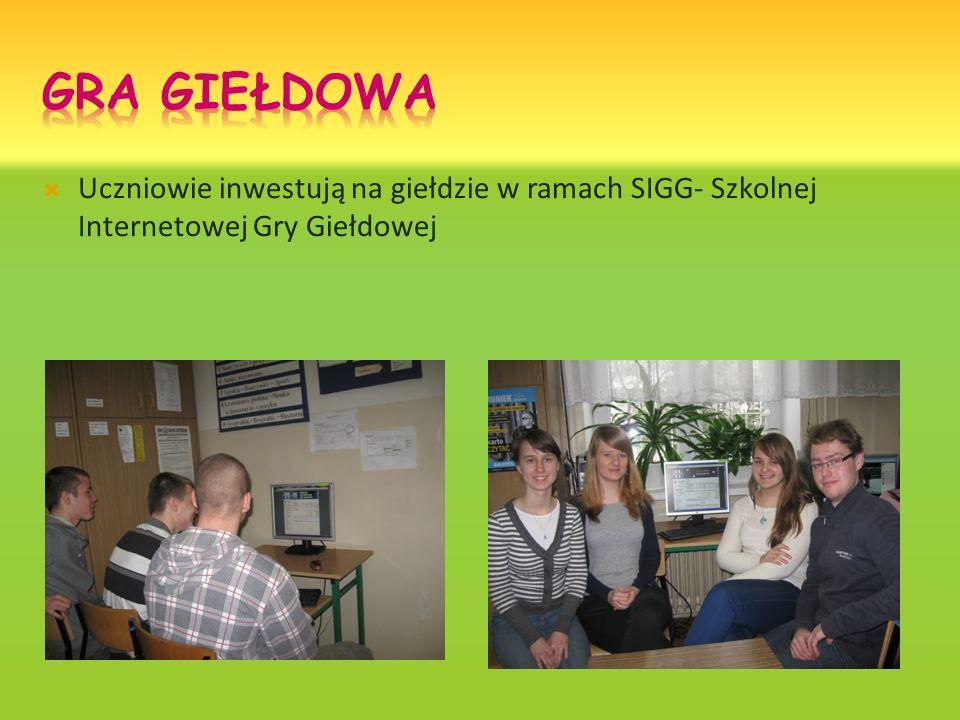 Uczniowie inwestują na giełdzie w ramach SIGG- Szkolnej Internetowej Gry Giełdowej