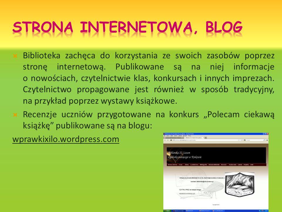 Biblioteka zachęca do korzystania ze swoich zasobów poprzez stronę internetową. Publikowane są na niej informacje o nowościach, czytelnictwie klas, ko
