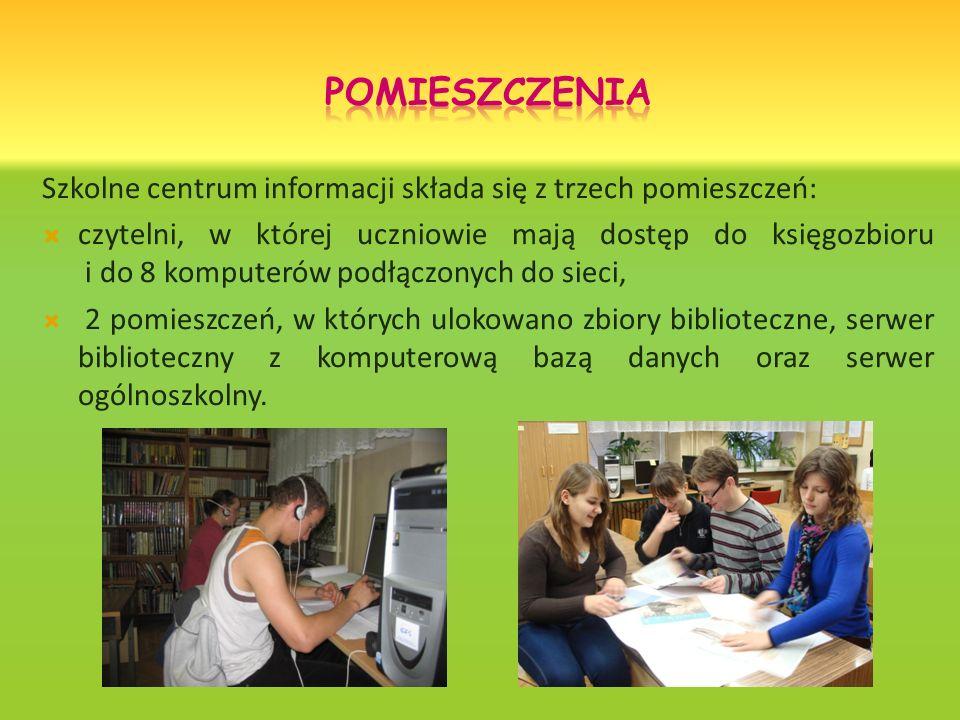 Szkolne centrum informacji składa się z trzech pomieszczeń: czytelni, w której uczniowie mają dostęp do księgozbioru i do 8 komputerów podłączonych do