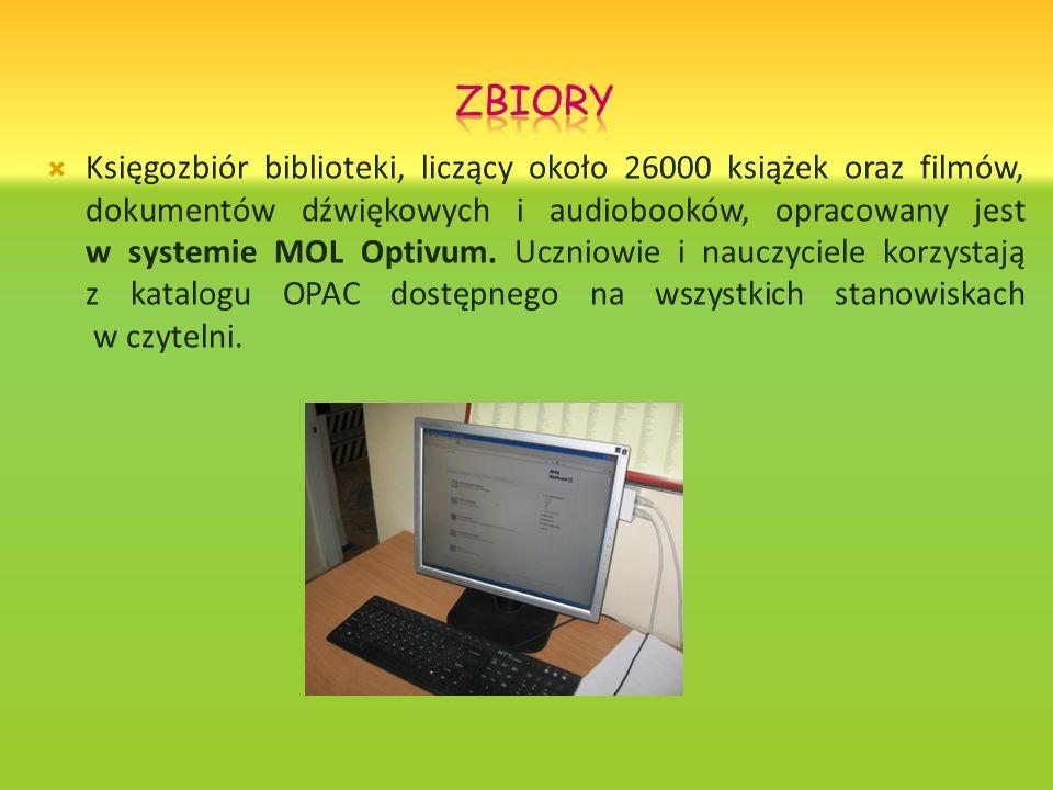 Księgozbiór biblioteki, liczący około 26000 książek oraz filmów, dokumentów dźwiękowych i audiobooków, opracowany jest w systemie MOL Optivum. Uczniow