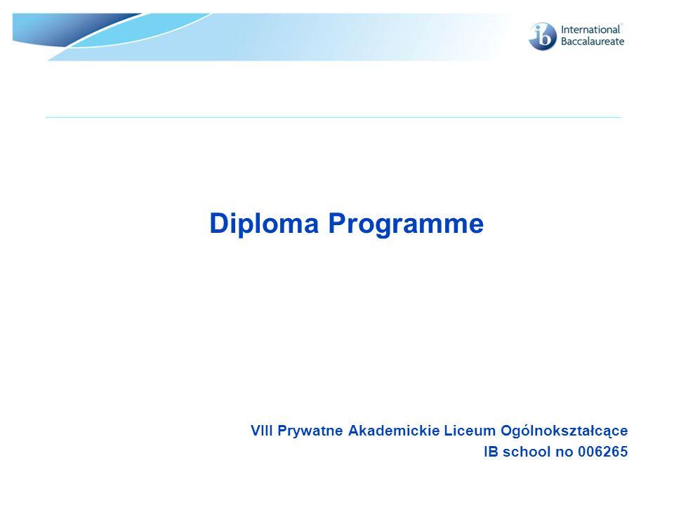 Diploma Programme VIII Prywatne Akademickie Liceum Ogólnokształcące IB school no 006265