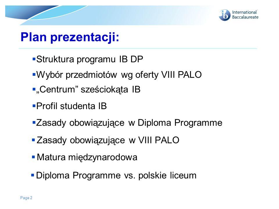 Plan prezentacji: Zasady obowiązujące w VIII PALO Page 2 Struktura programu IB DP Wybór przedmiotów wg oferty VIII PALO Centrum sześciokąta IB Profil