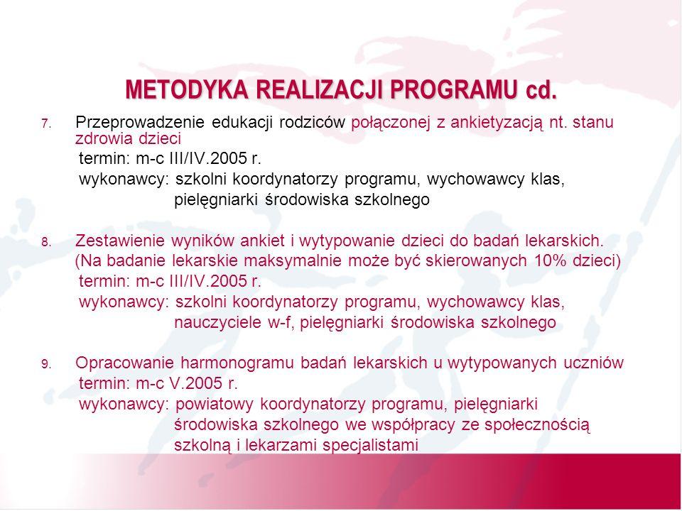 METODYKA REALIZACJI PROGRAMU cd. 7.