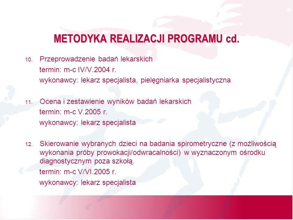 METODYKA REALIZACJI PROGRAMU cd. 10. Przeprowadzenie badań lekarskich termin: m-c IV/V.2004 r.