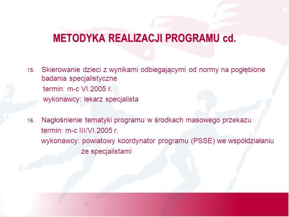 METODYKA REALIZACJI PROGRAMU cd. 15.