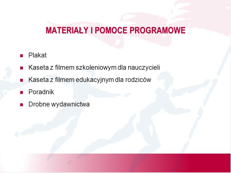 MATERIAŁY I POMOCE PROGRAMOWE Plakat Kaseta z filmem szkoleniowym dla nauczycieli Kaseta z filmem edukacyjnym dla rodziców Poradnik Drobne wydawnictwa