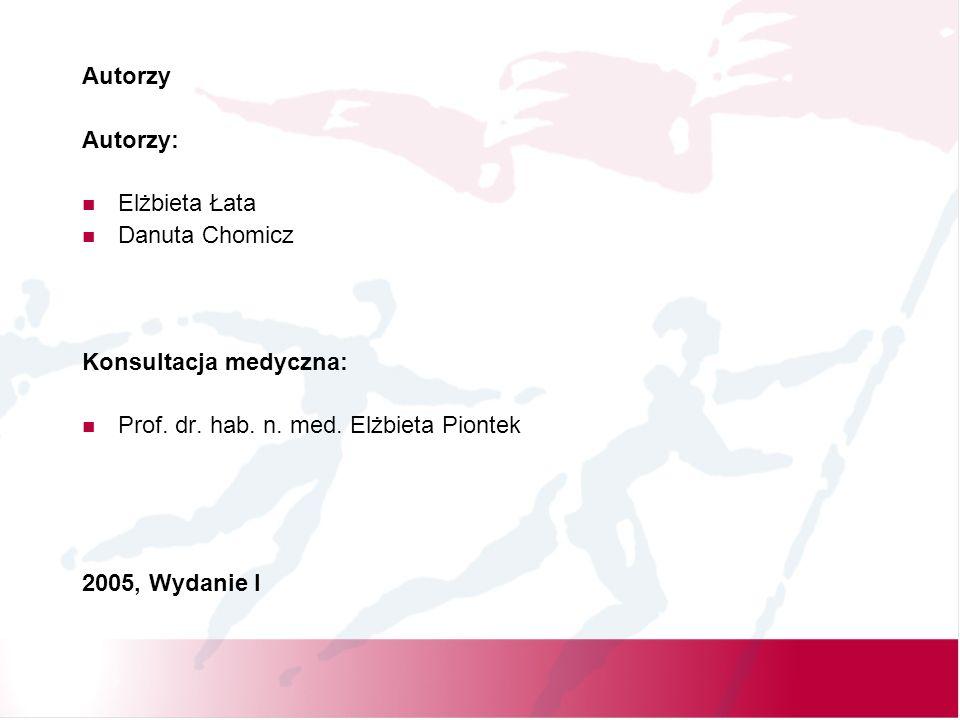 Autorzy Autorzy: Elżbieta Łata Danuta Chomicz Konsultacja medyczna: Prof.