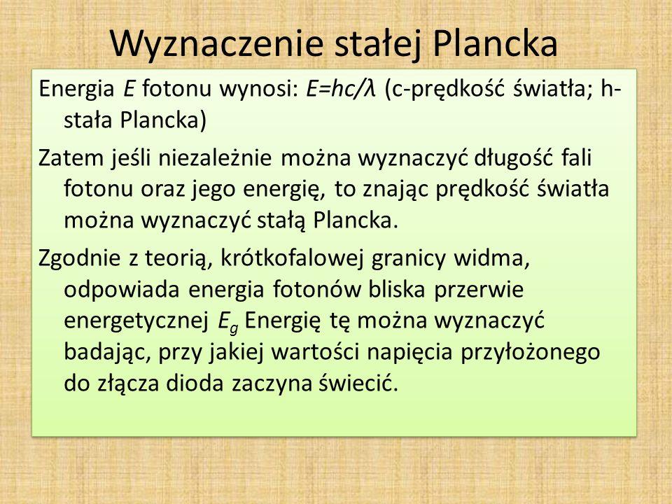 Wyznaczenie stałej Plancka Energia E fotonu wynosi: E=hc/λ (c-prędkość światła; h- stała Plancka) Zatem jeśli niezależnie można wyznaczyć długość fali