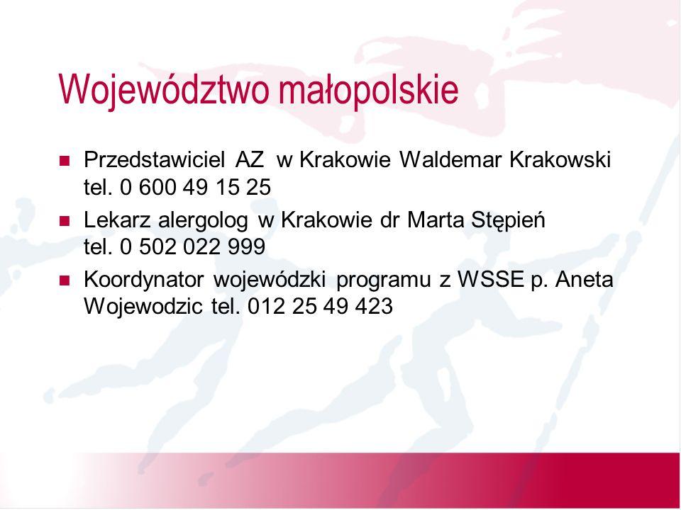 Województwo małopolskie Przedstawiciel AZ w Krakowie Waldemar Krakowski tel.