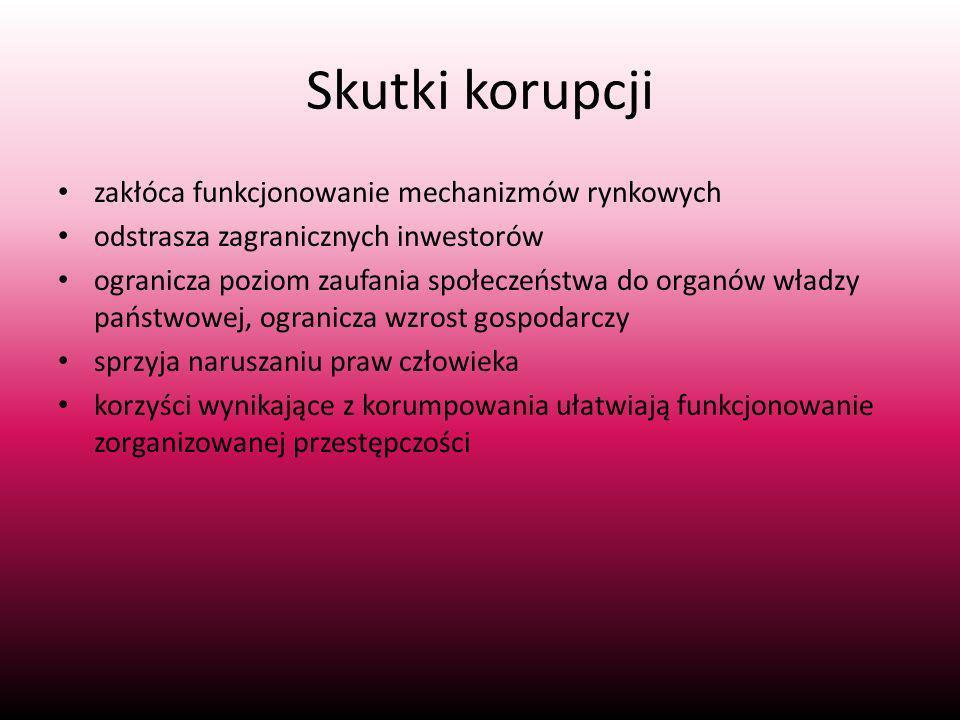 Skutki korupcji zakłóca funkcjonowanie mechanizmów rynkowych odstrasza zagranicznych inwestorów ogranicza poziom zaufania społeczeństwa do organów władzy państwowej, ogranicza wzrost gospodarczy sprzyja naruszaniu praw człowieka korzyści wynikające z korumpowania ułatwiają funkcjonowanie zorganizowanej przestępczości