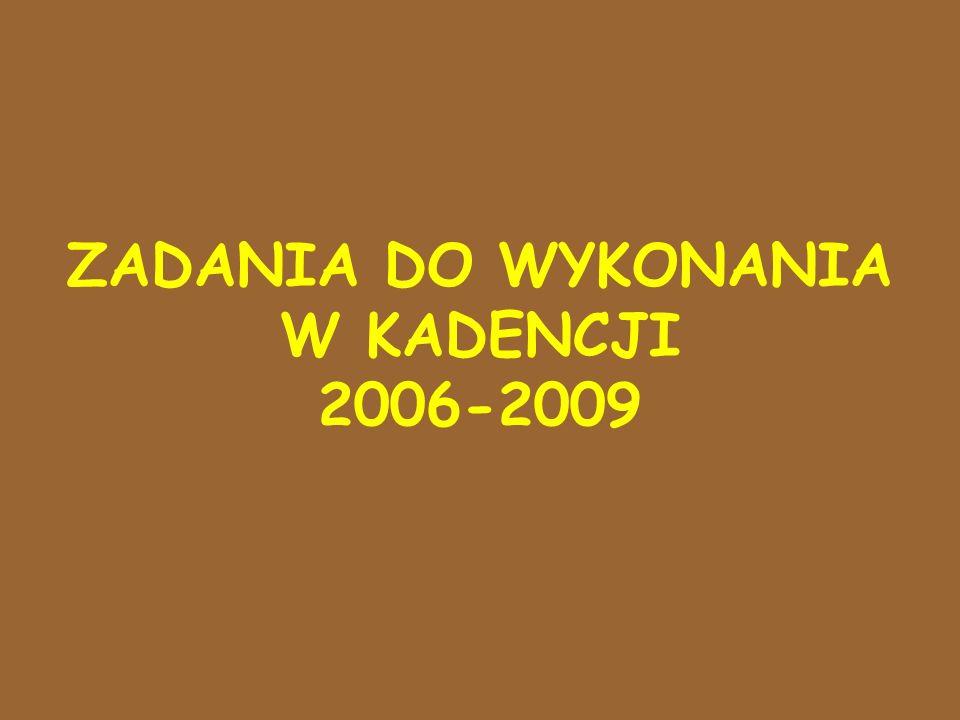 ZADANIA DO WYKONANIA W KADENCJI 2006-2009