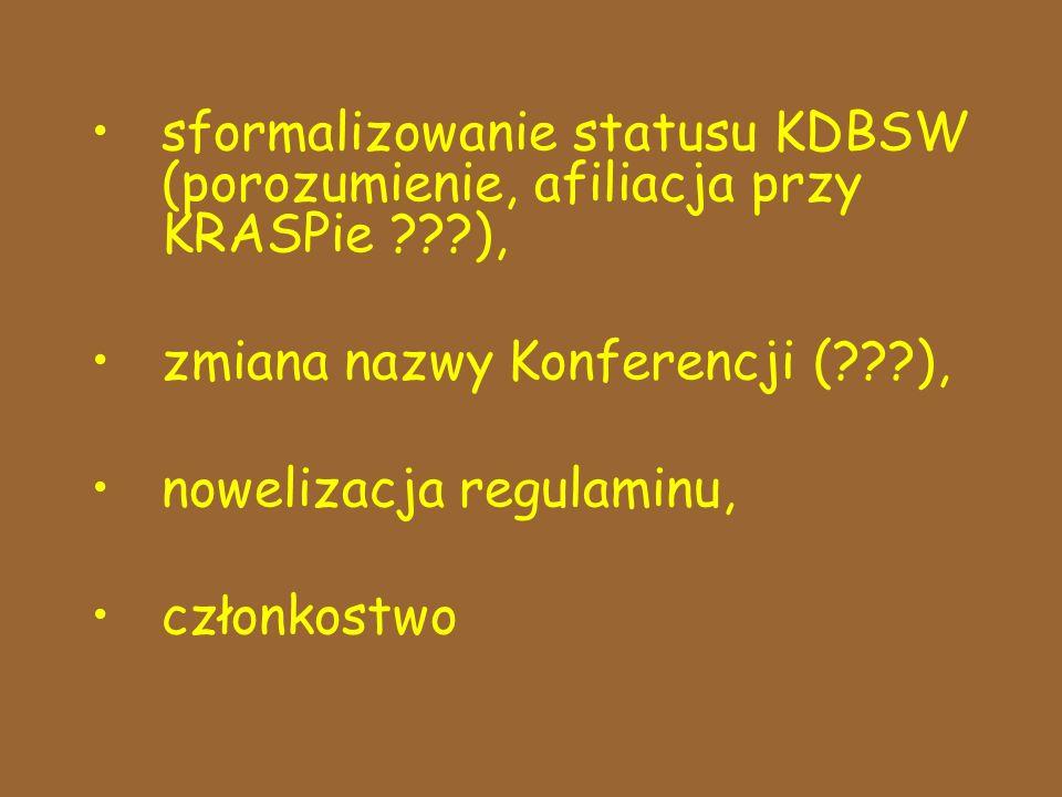 sformalizowanie statusu KDBSW (porozumienie, afiliacja przy KRASPie ???), zmiana nazwy Konferencji (???), nowelizacja regulaminu, członkostwo