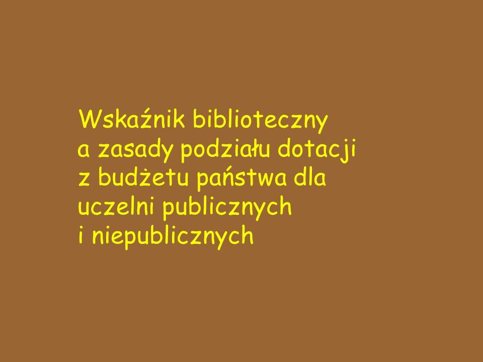 Wskaźnik biblioteczny a zasady podziału dotacji z budżetu państwa dla uczelni publicznych i niepublicznych