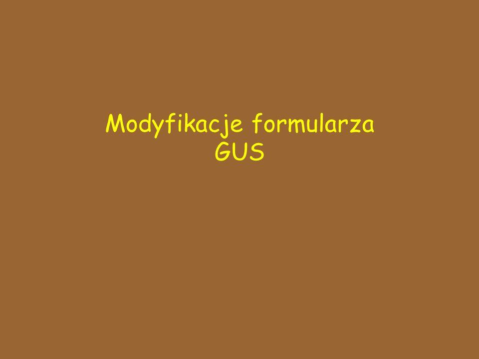 Modyfikacje formularza GUS