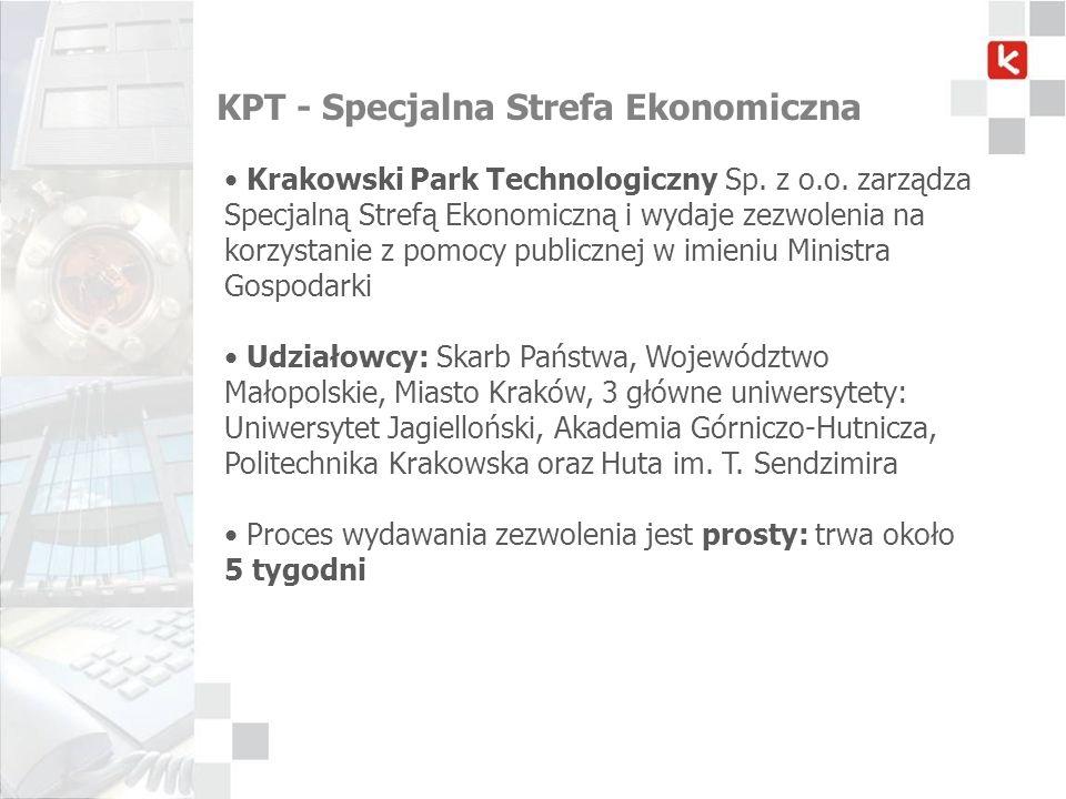 KPT - Specjalna Strefa Ekonomiczna Krakowski Park Technologiczny Sp. z o.o. zarządza Specjalną Strefą Ekonomiczną i wydaje zezwolenia na korzystanie z