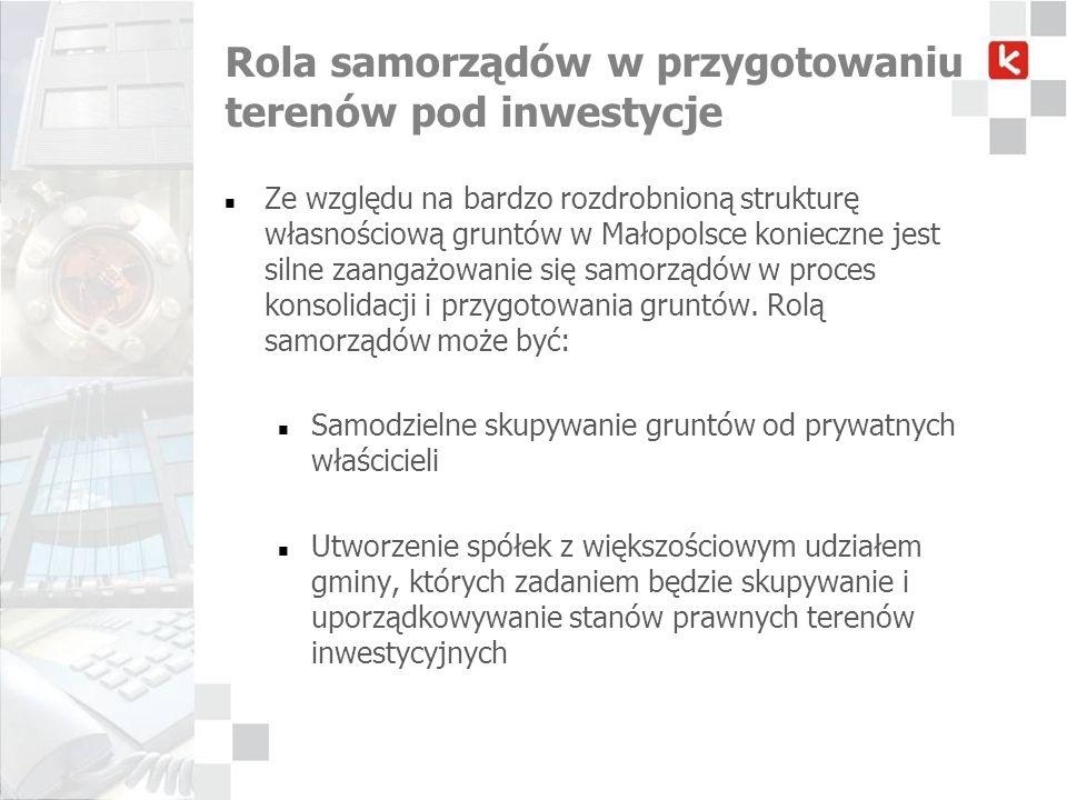 Rola samorządów w przygotowaniu terenów pod inwestycje Ze względu na bardzo rozdrobnioną strukturę własnościową gruntów w Małopolsce konieczne jest si