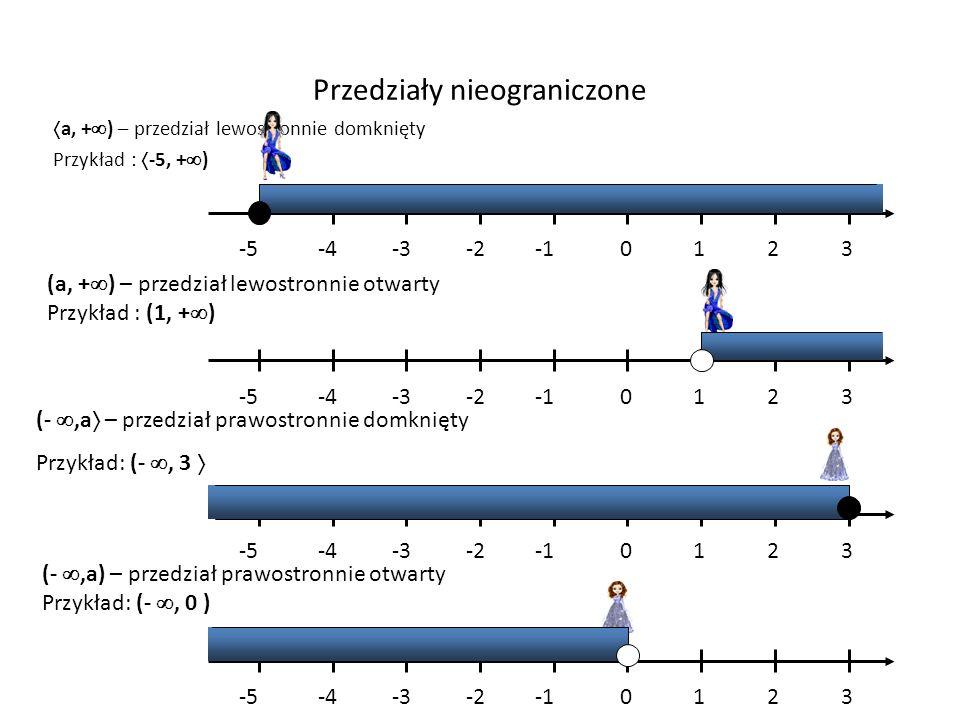 Przedziały nieograniczone a, + ) – przedział lewostronnie domknięty Przykład : -5, + ) (a, + ) – przedział lewostronnie otwarty Przykład : (1, + ) (-,