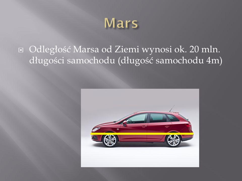 Odległość Marsa od Ziemi wynosi ok. 20 mln. długości samochodu (długość samochodu 4m)
