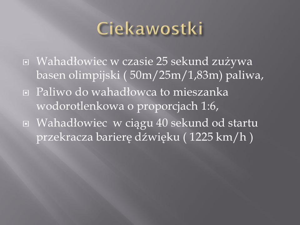 Wahadłowiec w czasie 25 sekund zużywa basen olimpijski ( 50m/25m/1,83m) paliwa, Paliwo do wahadłowca to mieszanka wodorotlenkowa o proporcjach 1:6, Wahadłowiec w ciągu 40 sekund od startu przekracza barierę dźwięku ( 1225 km/h )