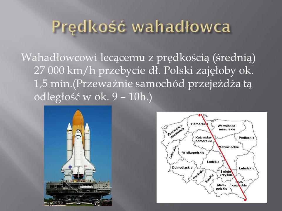 Wahadłowcowi lecącemu z prędkością (średnią) 27 000 km/h przebycie dł. Polski zajęłoby ok. 1,5 min.(Przeważnie samochód przejeżdża tą odległość w ok.