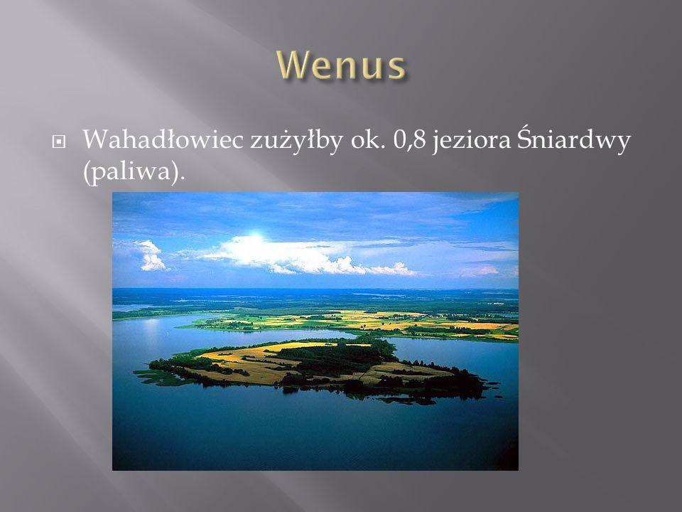 Wahadłowiec zużyłby ok. 0,8 jeziora Śniardwy (paliwa).