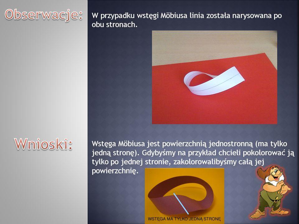 W przypadku wstęgi Möbiusa linia została narysowana po obu stronach. Wstęga Möbiusa jest powierzchnią jednostronną (ma tylko jedną stronę). Gdybyśmy n