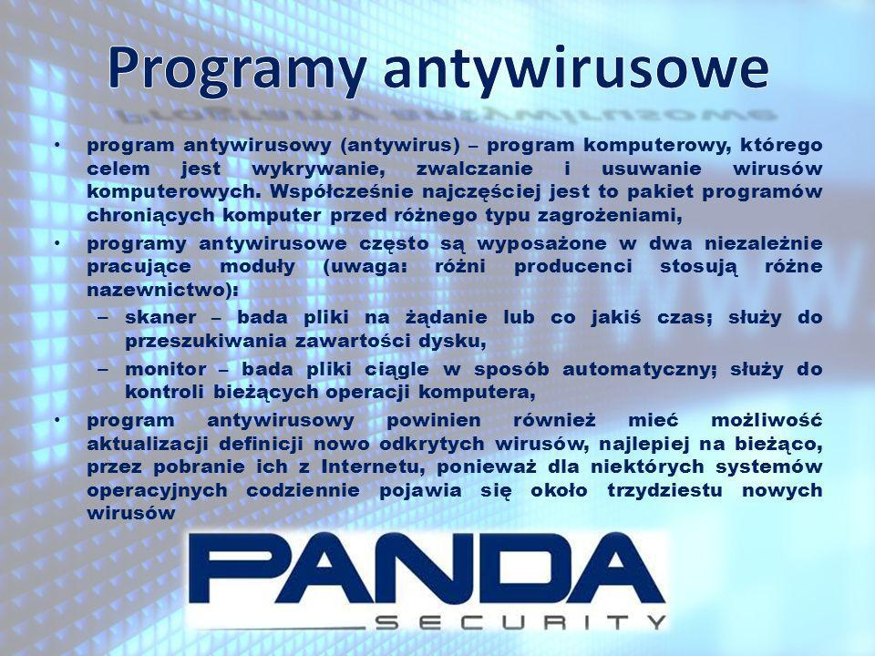 program antywirusowy (antywirus) – program komputerowy, którego celem jest wykrywanie, zwalczanie i usuwanie wirusów komputerowych. Współcześnie najcz