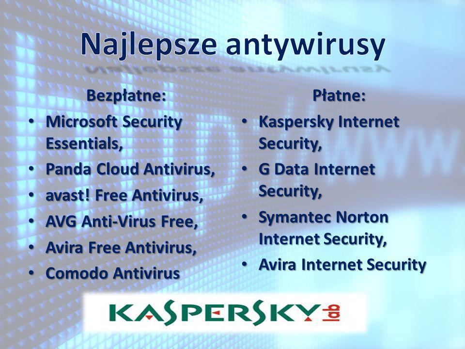 Bezpłatne: Microsoft Security Essentials, Microsoft Security Essentials, Panda Cloud Antivirus, Panda Cloud Antivirus, avast! Free Antivirus, avast! F