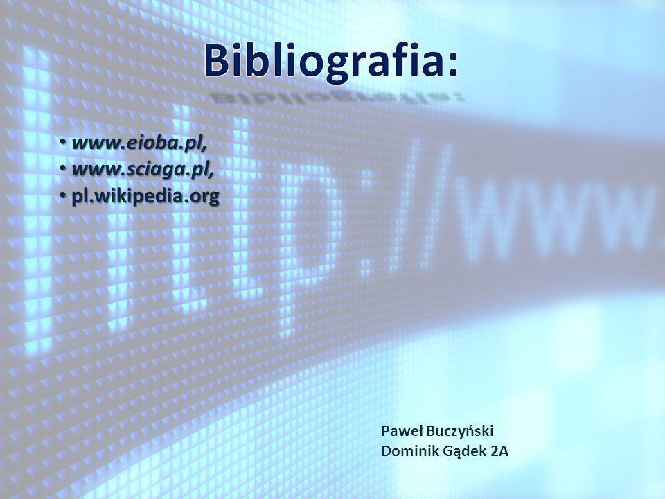 www.eioba.pl, www.eioba.pl, www.sciaga.pl, www.sciaga.pl, pl.wikipedia.org pl.wikipedia.org Paweł Buczyński Dominik Gądek 2A