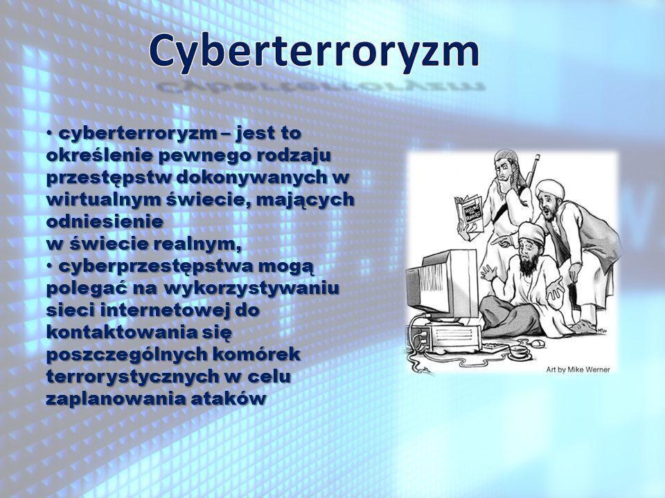cyberterroryzm – jest to określenie pewnego rodzaju przestępstw dokonywanych w wirtualnym świecie, mających odniesienie w świecie realnym, cyberterroryzm – jest to określenie pewnego rodzaju przestępstw dokonywanych w wirtualnym świecie, mających odniesienie w świecie realnym, cyberprzestępstwa mogą polegać na wykorzystywaniu sieci internetowej do kontaktowania się poszczególnych komórek cyberprzestępstwa mogą polegać na wykorzystywaniu sieci internetowej do kontaktowania się poszczególnych komórek terrorystycznych w celu zaplanowania ataków